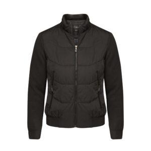 Chaqueta negra tipo bomber jacket semi-impermeable