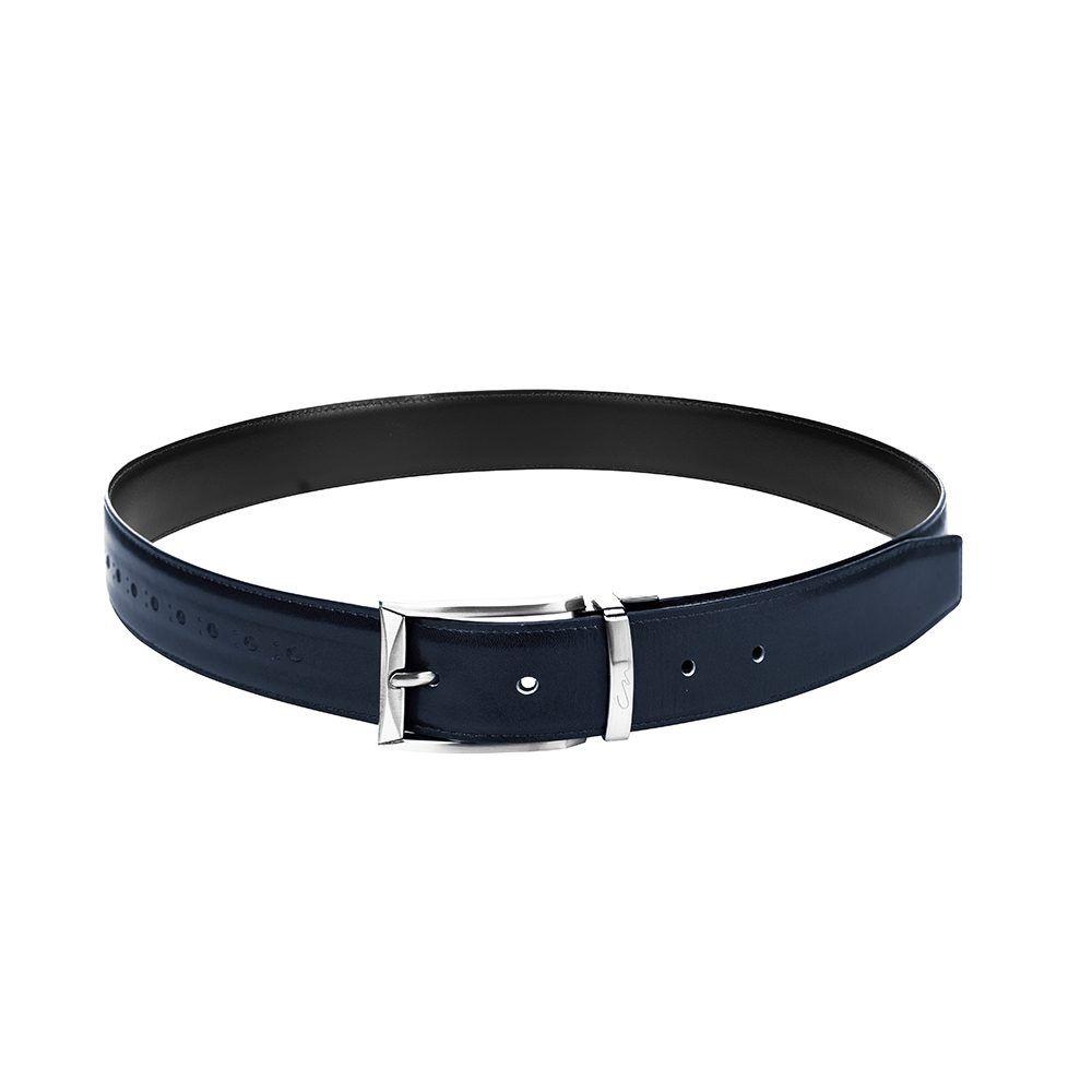 Cinturón reversible negro y azul en cuero