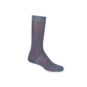 Medias grises con mariposas rojas largas informales, tejidas en algodón con elastano, refuerzo a tono en puño, punteras y talón.