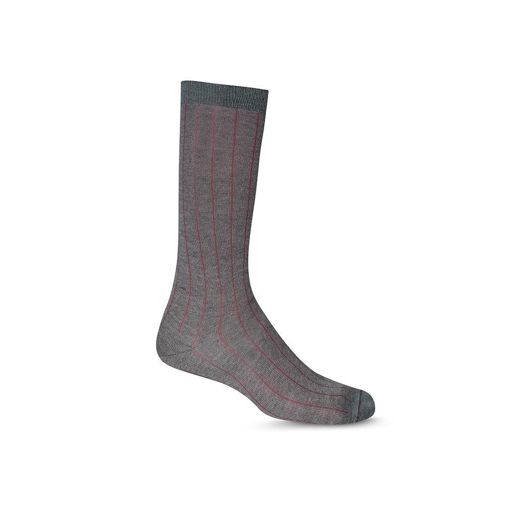 Medias grises con rayas en contraste vino tinto largas formales, costuras suaves, refuerzo a tono en puño, punteras y talón.