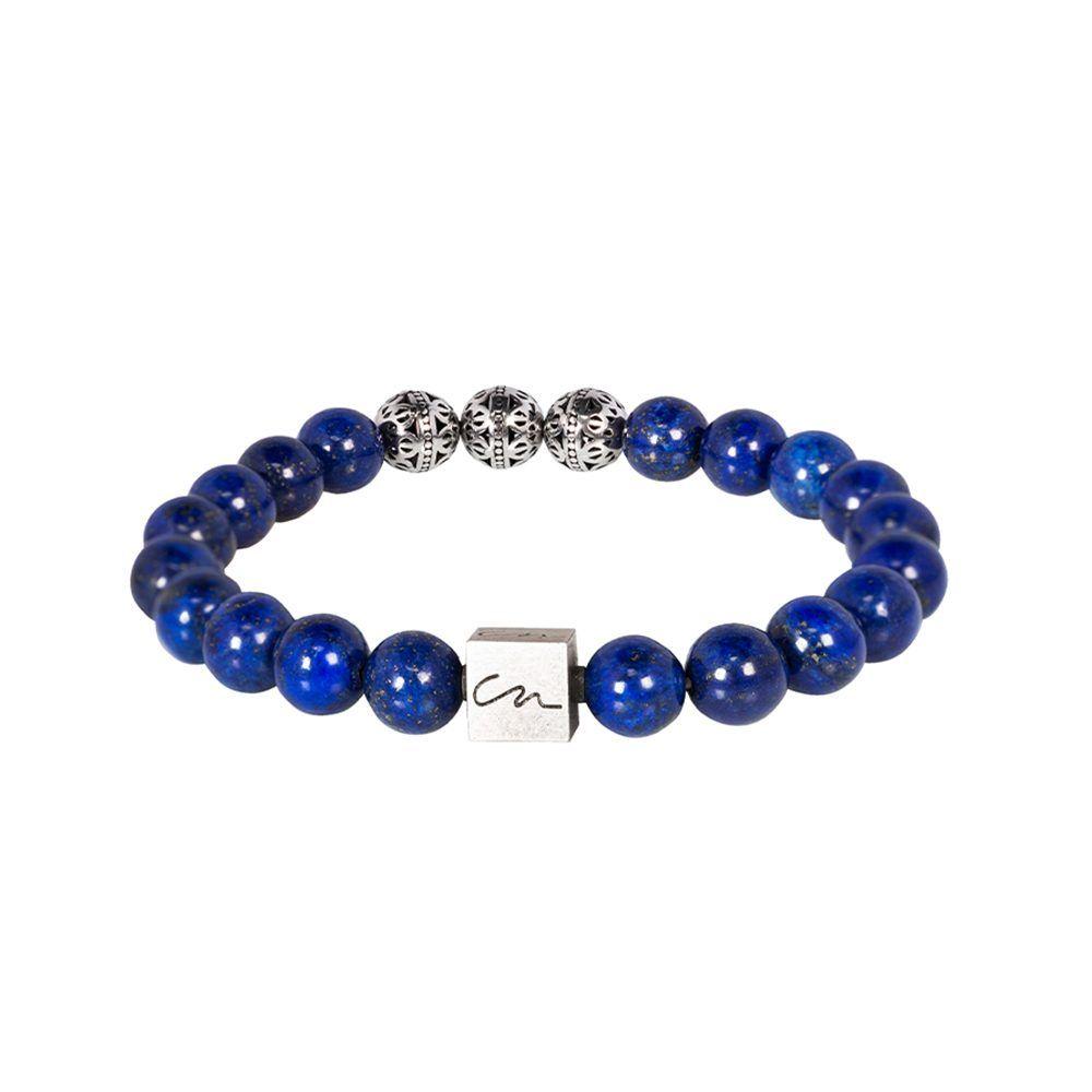 Pulsera con piedras semi-preciosas azules y esferas metálicas en níquel brillante.