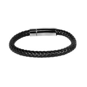 Pulsera elaborada en un conjunto de trenzas color negro en cuero con original herraje en color níquel negro mate.