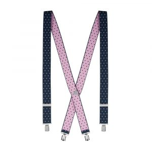 Tirantas elásticas azules oscuras con puntos rosados, revés rosado, remates finales en cuero y metálicos tipo clip creando una doble posibilidad de uso.