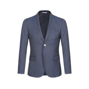 Blazer azul oscuro dos botones des-estructurado en 100% lana Italiana de Zignone. Silueta Slim fit y pasa-punto decorativo.