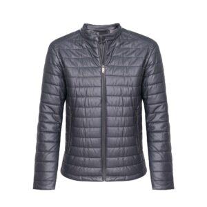 Chaqueta gris oscura acolchada, semi-impermeable con base textil suave imitación cuero de origen Español.
