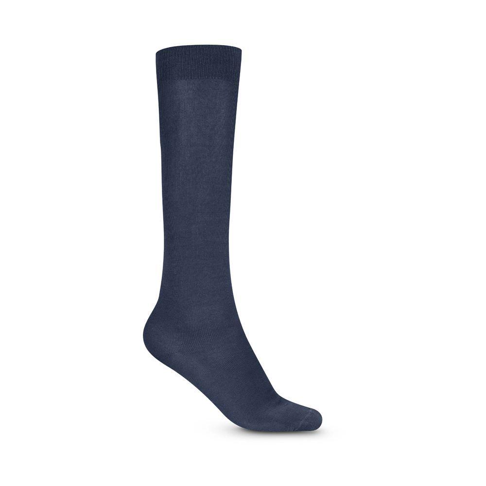 Medias azules oscuras largas formales, tejidas en algodón mercerizado y elastano. Ideal para un look contemporáneo y elegante.
