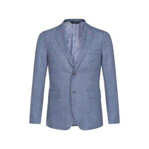 Saco con efecto jaspeado en diferentes tonos azules, estructura clásica y versátil con bolsillos de tapa.