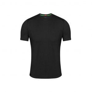 Camiseta negra en 100% algodón, silueta Slim, confortable y de tacto suave