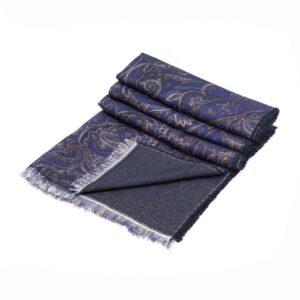 Bufanda con arabescos en tonos azules