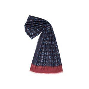 Bufanda estampada con flores en tonos azules, acentos y cenefa en vino tinto.