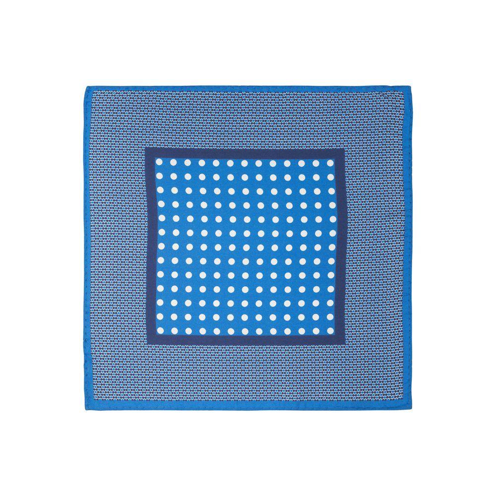 Pañuelo azul medio con estampado de puntos blancos en el área central y cenefa con textura punteada en seda de origen Español.