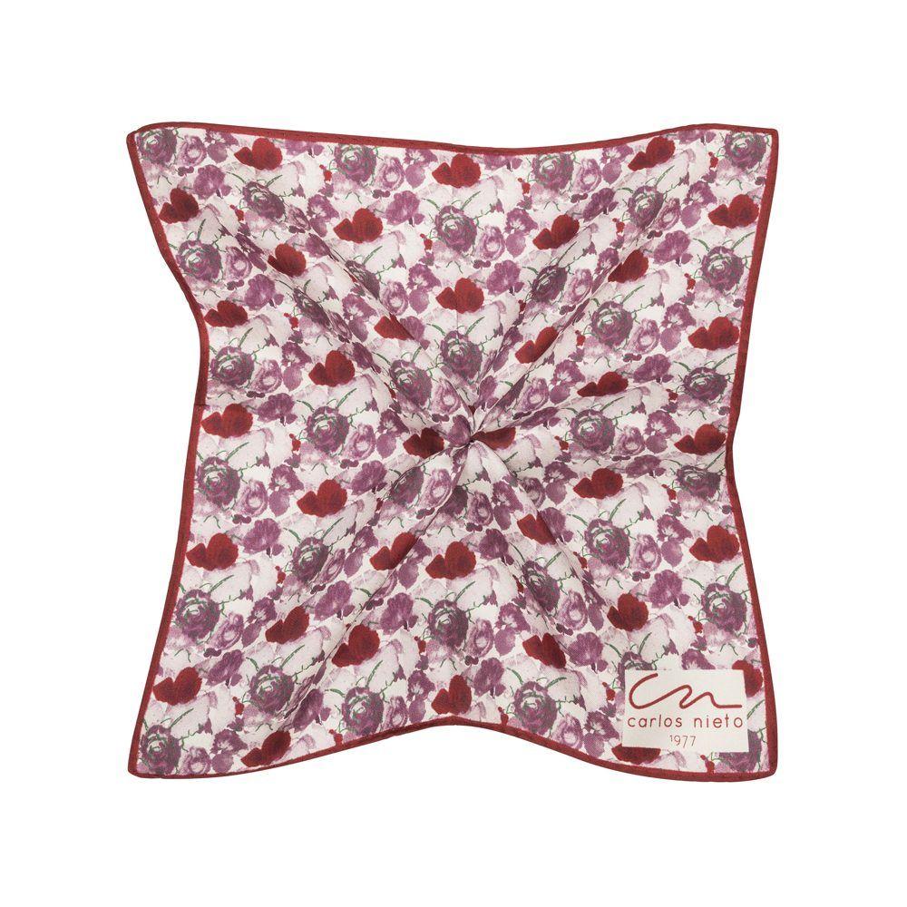 Pañuelo vino tinto con estampado floral acuarelado y marco vino tinto en seda de origen Español.