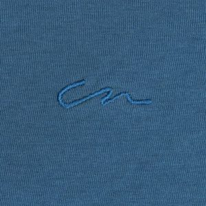 Camiseta azul petróleo en 100% algodón, silueta regular, dobladillo con curva ligera