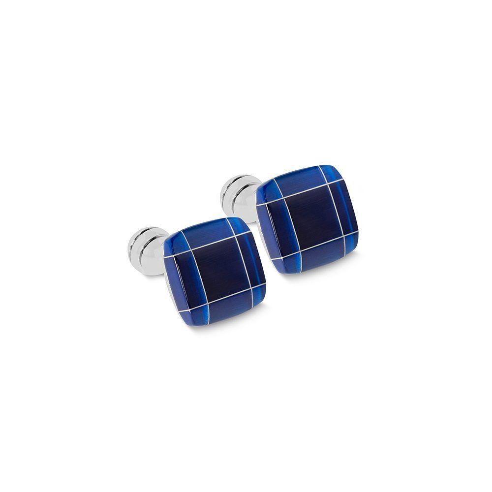 Mancornas metálicas cuadradas con piedra semi-preciosa en azul profundo con líneas plateadas.
