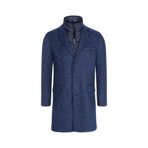 Abrigo azul jaspeado doble pechera removible acolchada.