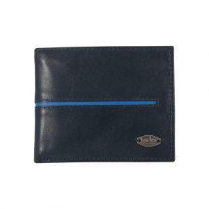Billetera azul oscura con discreto detalle en contraste y placa metálica.