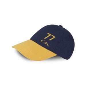 Cachucha en algodón y poliéster azul oscuro con logo 77 amarillo
