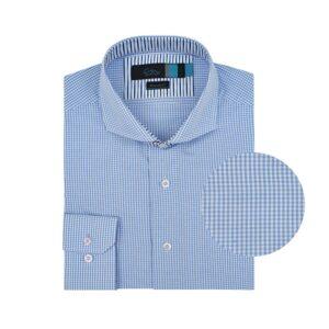 Camisa manga larga a cuadros azul, regular fit, cuello abierto con botón escondido. Algodón Pima de origen Peruano.