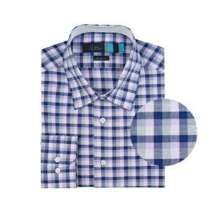 Camisa manga larga a cuadros azul oscuro,  lila y gris, regular fit, cuello cerrado con botón escondido. Algodón Pima de origen Peruano.
