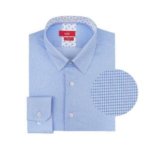 Camisa azul clara a cuadros en algodón pima 100% Peruano.