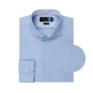 Camisa azul clara en algodón 100% Italiano de Albini.