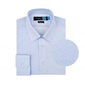 Camisa azul clara estampada.   Algodón 100%  Italiano (fabricante Albini). Regular fit, cuello cerrado con botón escondido.
