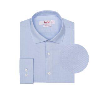 Camisa azul clara, en 100% algodón Italiano de Albini. Silueta Slim fit, cuello semi-abierto con button under.