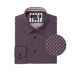 Camisa azul oscura estampada en algodón 100% de origen Esloveno.