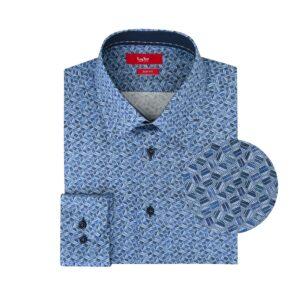 Camisa azul estampada en Algodón 100% de origen Esloveno, silueta slim fit y cuello cerrado con button under.