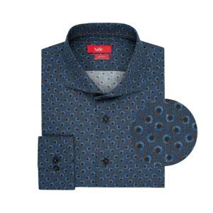 Camisa azul print en Algodón 100% de origen Esloveno, silueta slim fit, cuello abierto con button under.
