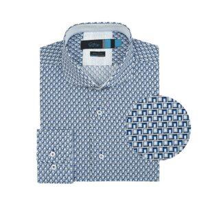 Camisa azul estampado cuadros en Algodón 100% de origen Esloveno. Silueta regular, cuello abierto button under, contrastes internos en cuello y puño.