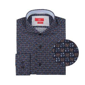 Camisa azul oscura en algodón 100% con estampado de flores.
