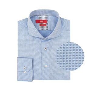 Camisa azul con micro diseño en algodón 100%.