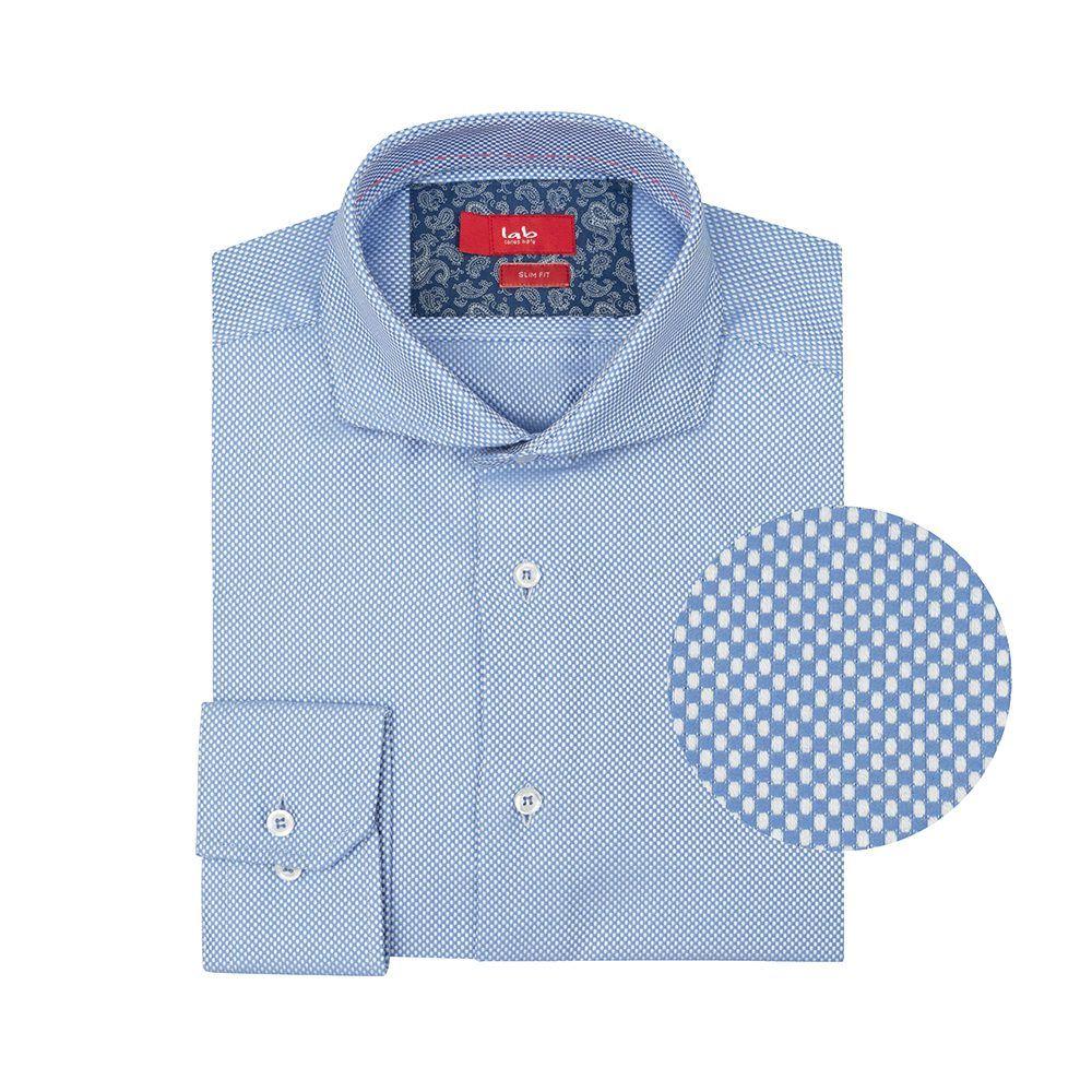 Camisa azul con micro diseño, algodón 100% Italiano.