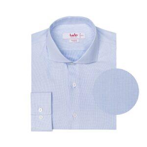 Camisa azul clara con micro diseño en 100% algodón Italiano de Albini. Silueta slim fit y cuello abierto con button under.