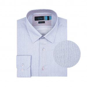 Camisa azul micro diseño.  Algodón 100% Italiano (fabricante Canclini). Regular fit, cuello cerrado con botón escondido.