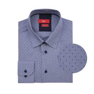 Camisa manga larga azul micro diseño, Slim fit, cuello cerrado con botón escondido. Algodón Pima de origen Peruano.