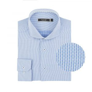 Camisa manga larga azul microdiseño, regular fit, cuello abierto con botón escondido. Algodón extra fino de origen Italiano.