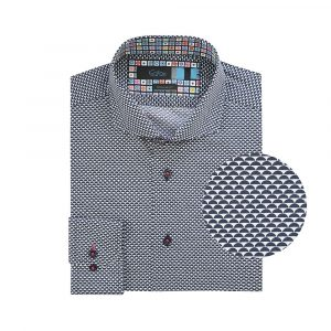 Camisa azul mini print en Algodón 100% Italiano, contrastes en cuello y silueta regular fit con cuello clásico con button under.