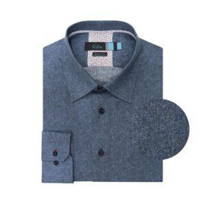 Camisa azul estampada con textura en 100% algodón Esloveno.