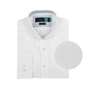Camisa manga larga blanca, regular fit, cuello abierto con botón escondido. Algodón de origen Italiano.