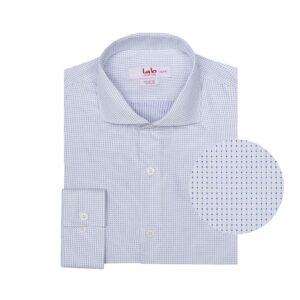Camisa blanca con micro diseño de puntos en 100% algodón Italiano de Albini.