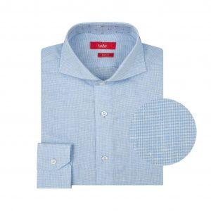 Camisa blanca a cuadros en fibra natural 100% Lino. Silueta ligera, contrastes internos y cuello abierto con button under.