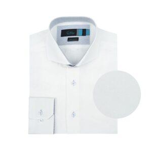 Camisa manga larga doble uso blanca, micro diseño en puntos a tono, regular fit, cuello abierto con botón escondido. Algodón Pima de origen Peruano.