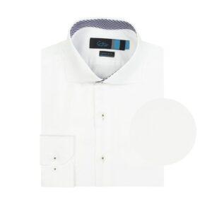Camisa manga larga doble uso blanca, Regular fit, cuello abierto con botón escondido. Algodón Pima de origen Peruano.