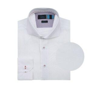 Camisa manga larga doble uso, fondo blanco, Regular fit, cuello abierto con botón escondido. Algodón de origen Italiano.