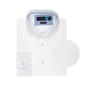 Camisa blanca doble uso en Algodón 100% Italiano. Silueta regular, cuello abierto con button under y contrastes en cuello y puño interno.
