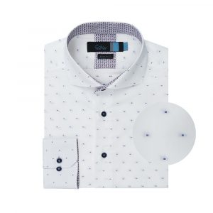 Camisa blanca puntos en algodón 100% Italiano de Albini.