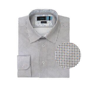 Camisa blanca con estampado de puntos en algodón 100% Europeo.