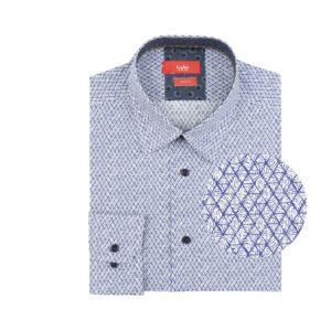 Camisa manga larga, fondo blanco con rombos azul oscuro, slim fit, cuello cerrado con botón escondido. Algodón de origen Peruano.